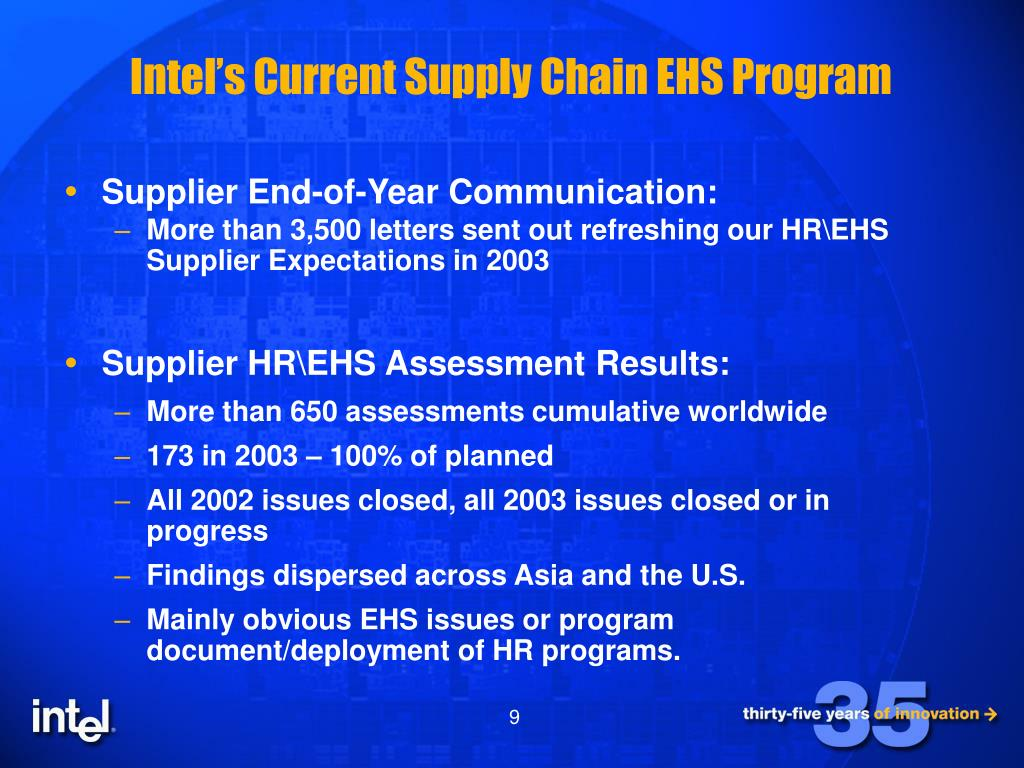 PPT - Intel's Approach to Supply Chain and CSR PowerPoint
