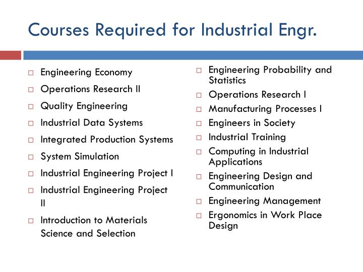 Courses required for industrial engr