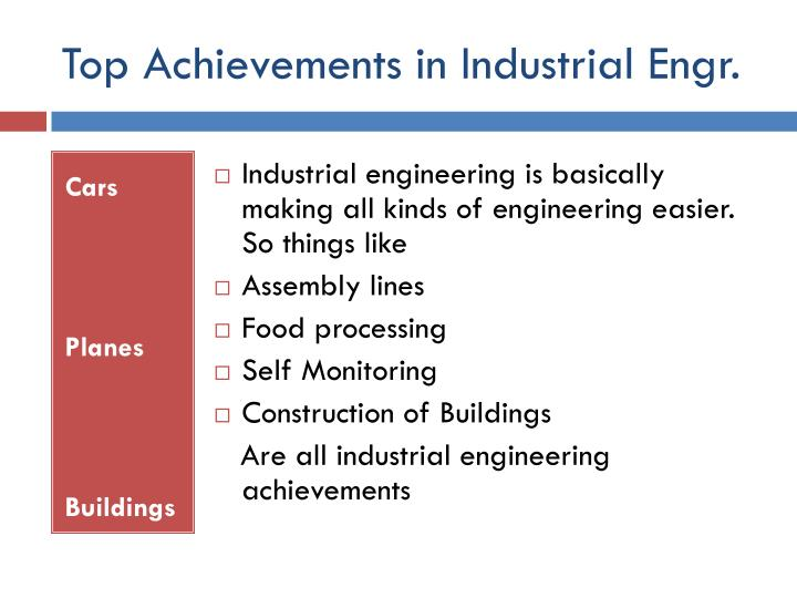 Top Achievements in Industrial Engr.