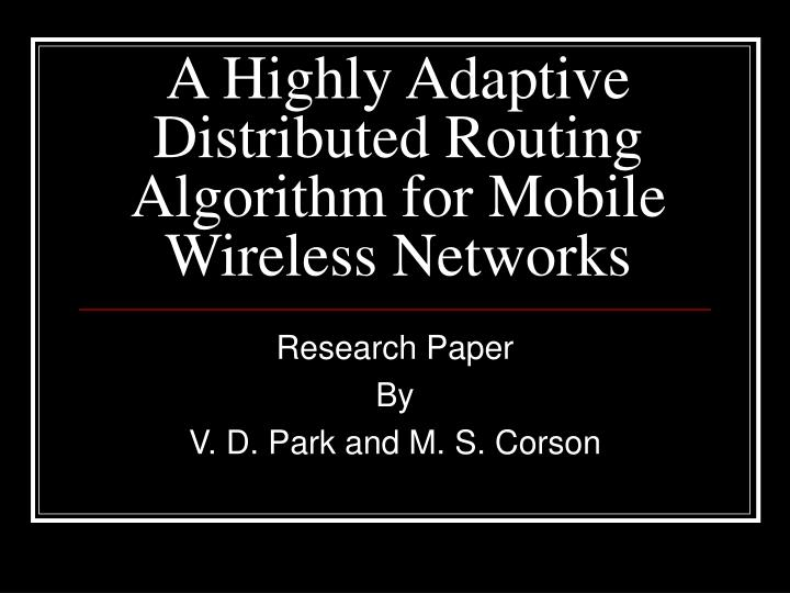 routing algorithm research paper
