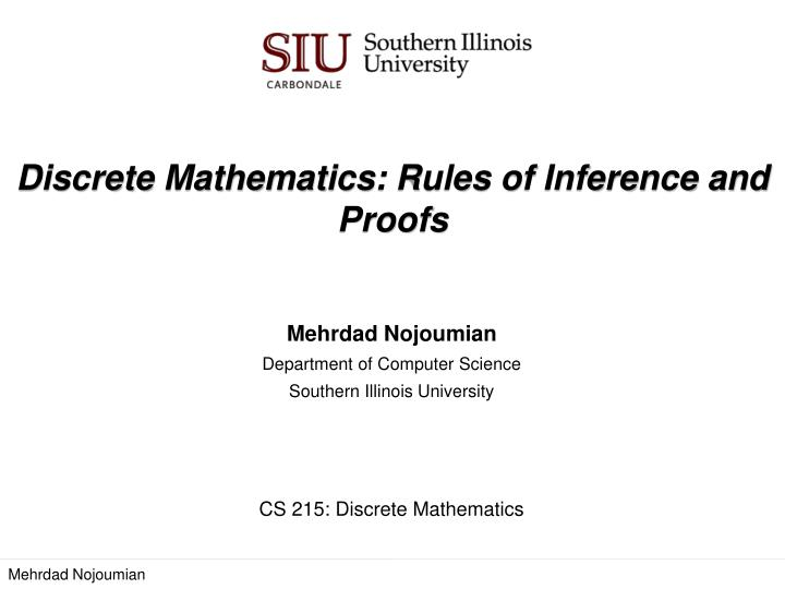 Discrete mathematics rules of inference and proofs