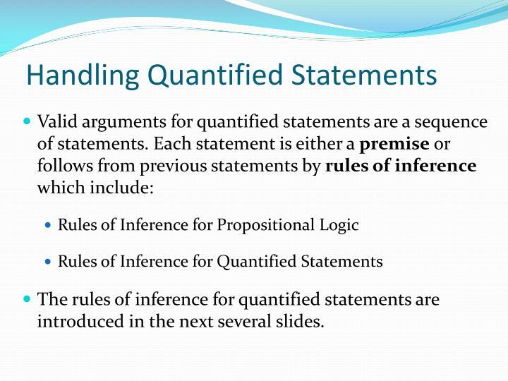 Handling Quantified Statements