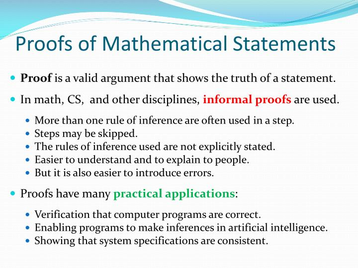 Proofs of Mathematical Statements