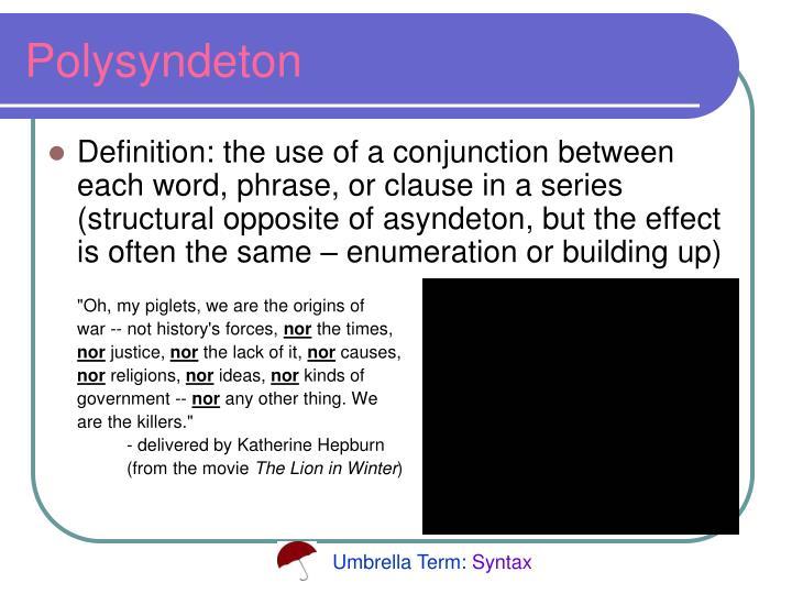 opposite of asyndeton