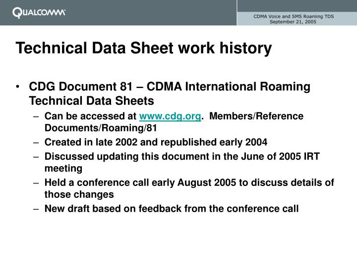 Technical data sheet work history