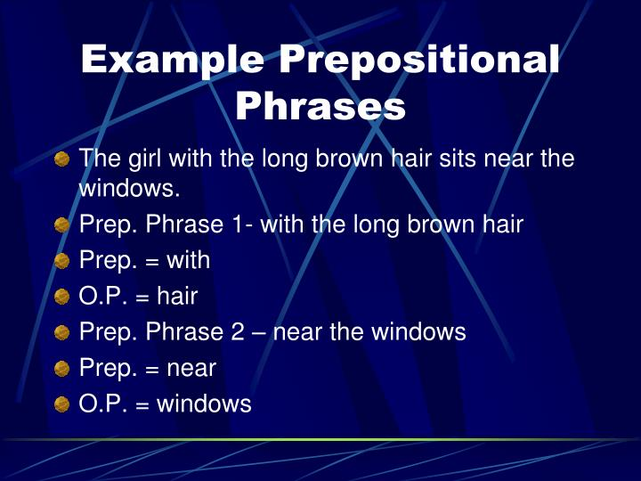 Example Prepositional Phrases