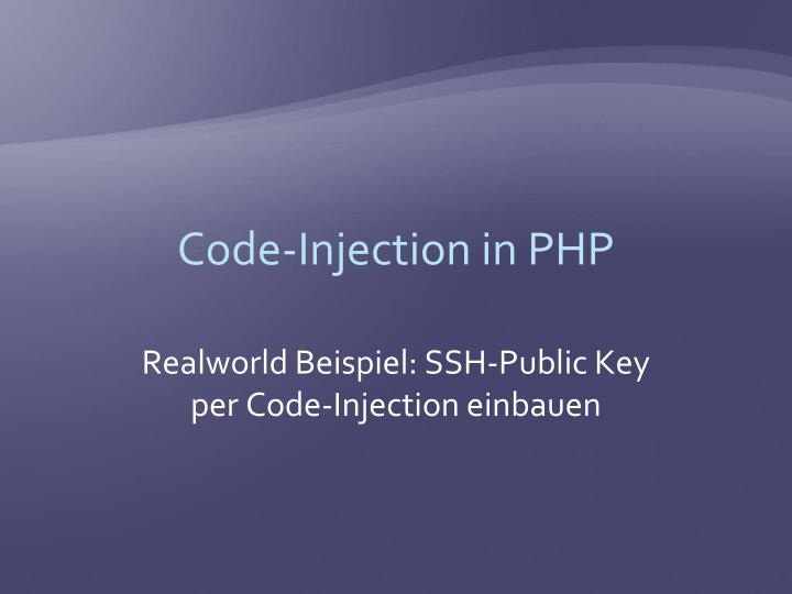 Code injection in php