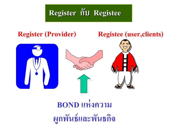 Register  กับ  Registee