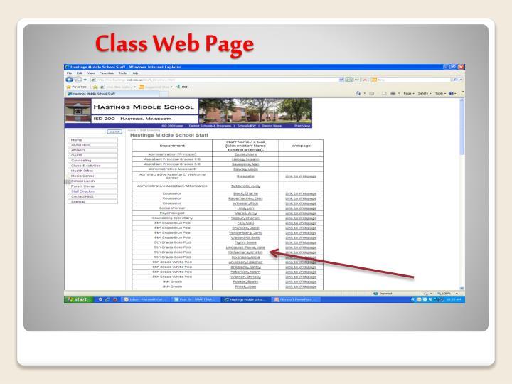 Class Web Page