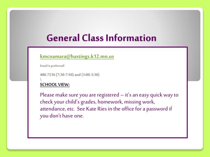 General class information