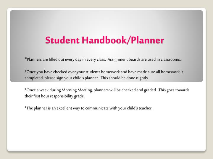Student handbook planner