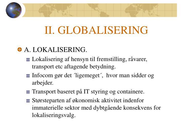 II. GLOBALISERING