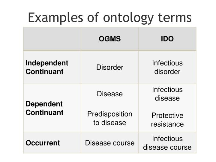 Examples of ontology terms