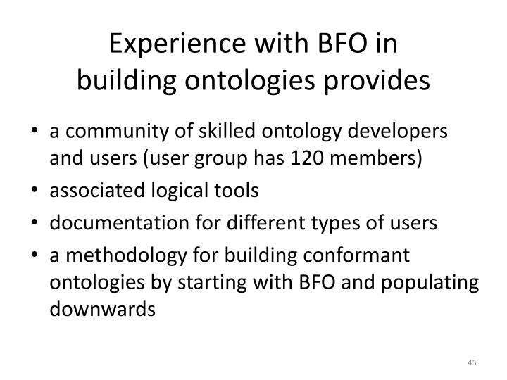 Experience with BFO in
