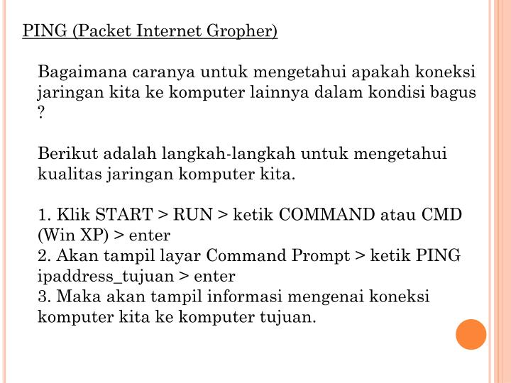 PING (Packet Internet Gropher)