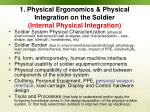 1 physical ergonomics physical integration on the soldier internal physical integration