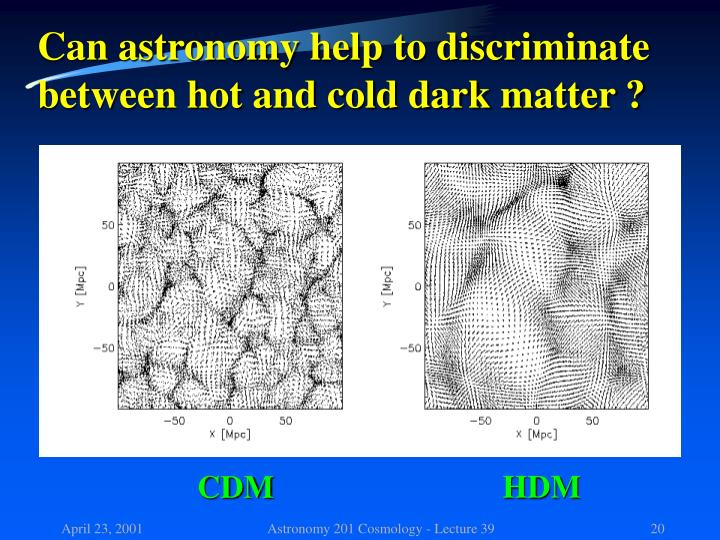 Can astronomy help to discriminate between hot and cold dark matter ?
