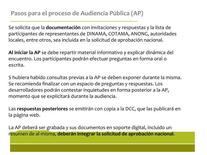 Pasos para el proceso de Audiencia