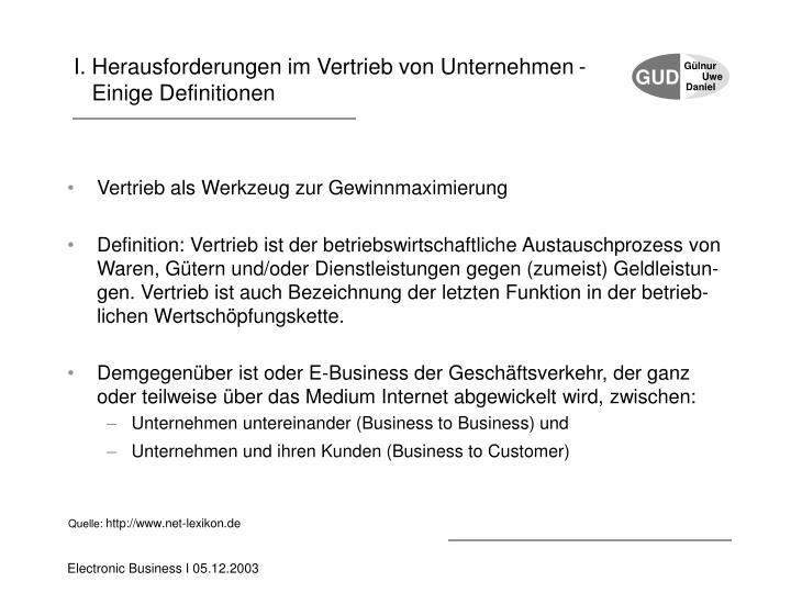 I. Herausforderungen im Vertrieb von Unternehmen -