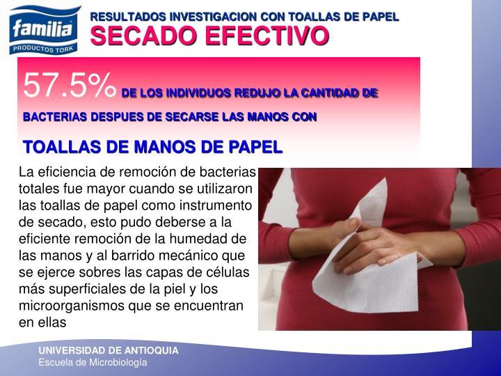 RESULTADOS INVESTIGACION CON TOALLAS DE PAPEL