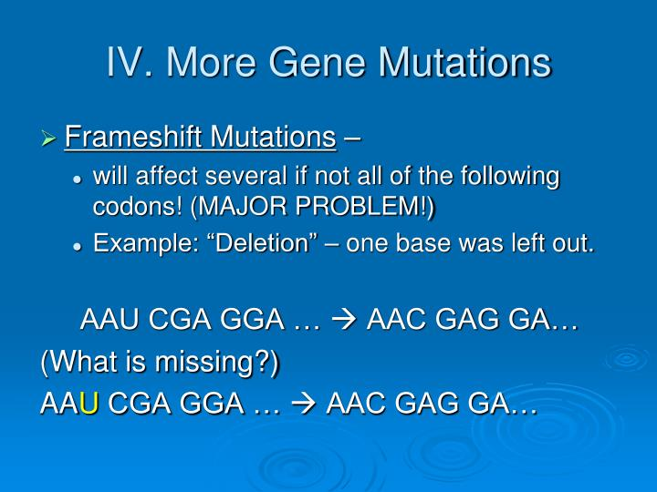 IV. More Gene Mutations