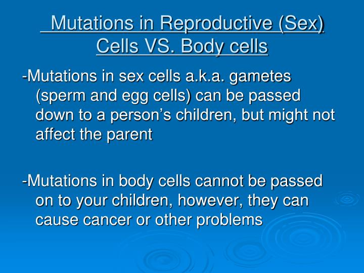 Mutations in Reproductive (Sex) Cells VS. Body cells