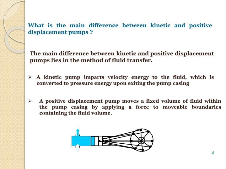 What is the main difference between kinetic and positive displacement pumps ?