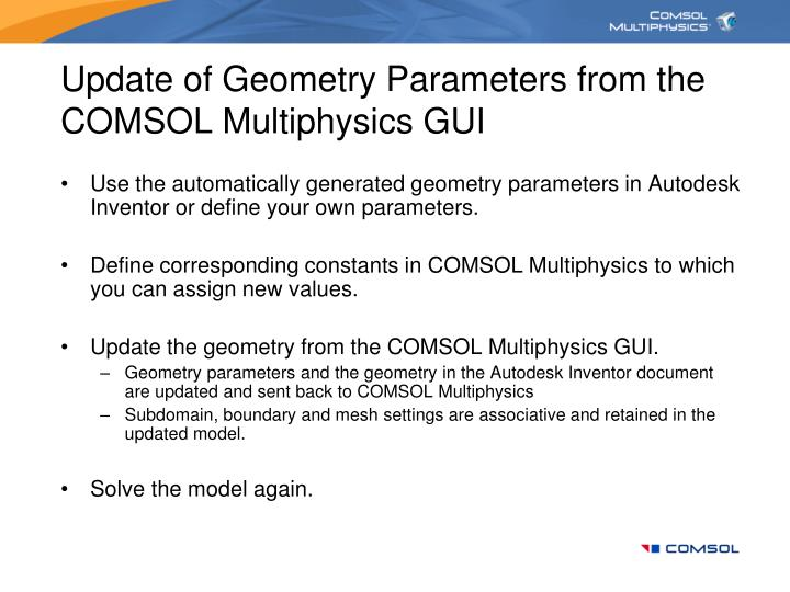 Update of Geometry Parameters from the COMSOL Multiphysics GUI