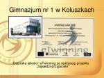 gimnazjum nr 1 w koluszkach