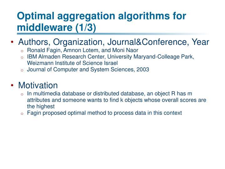 Optimal aggregation algorithms for middleware (1/3)