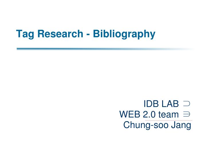 Tag research bibliography