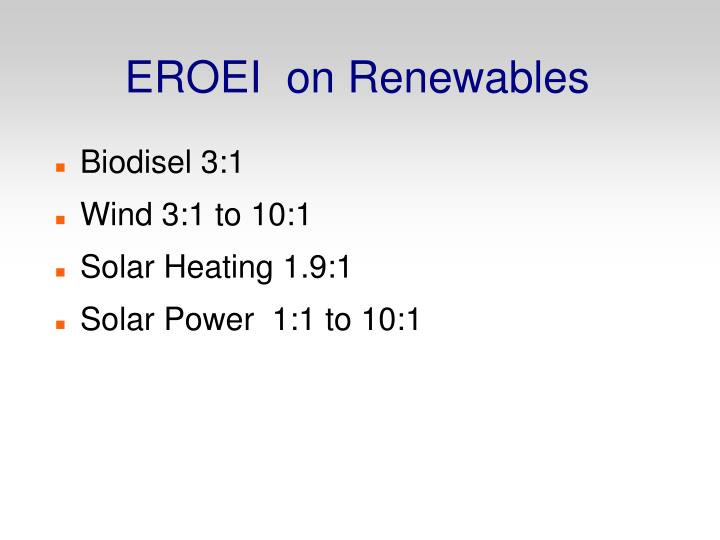 EROEI  on Renewables