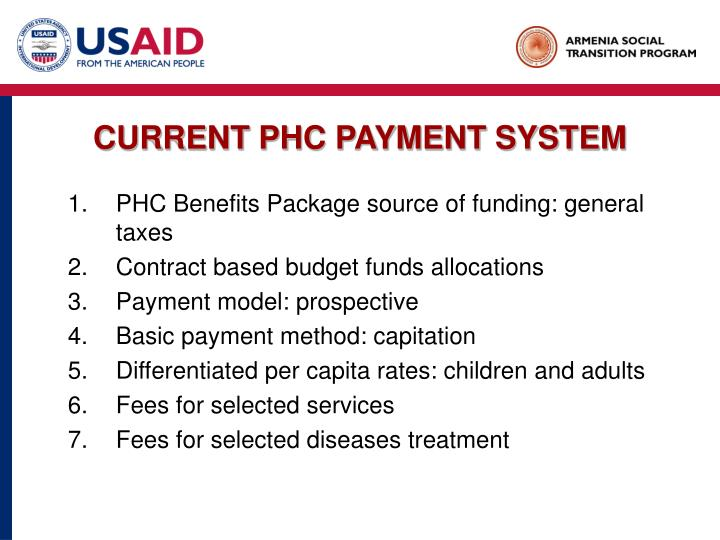 Current phc payment system