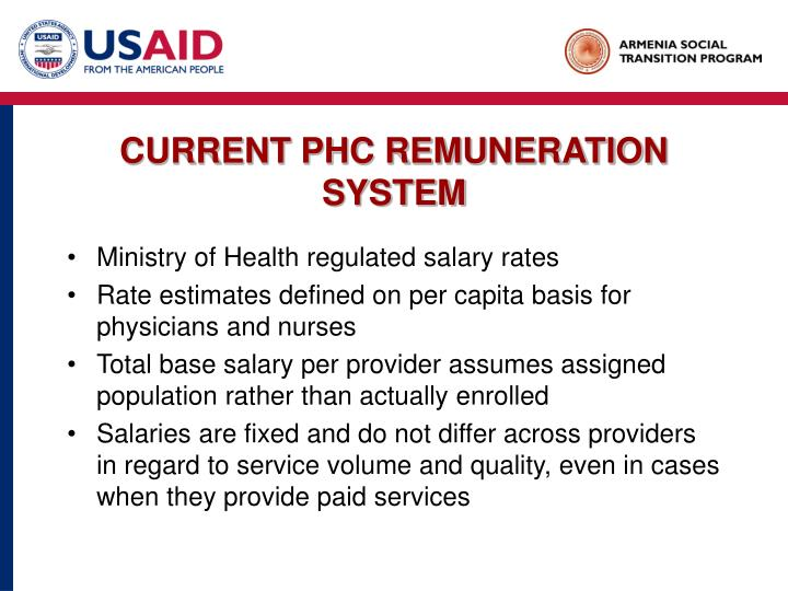 Current phc remuneration system