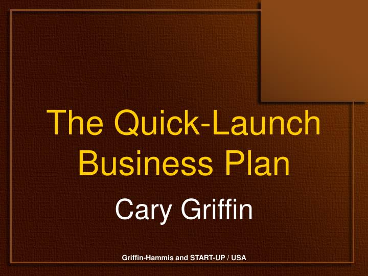 The quick launch business plan