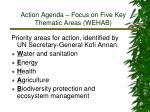 action agenda focus on five key thematic areas wehab