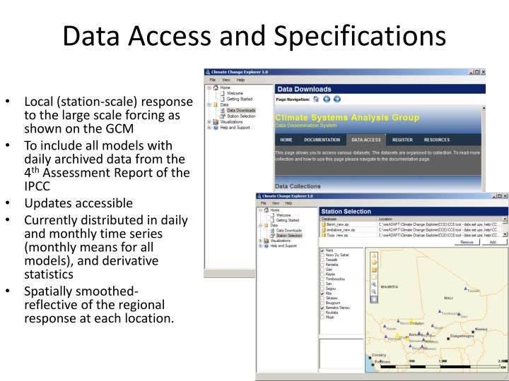 Data Access and Specifications