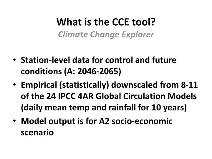 What is the cce tool climate change explorer