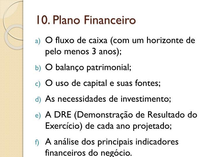 10. Plano Financeiro