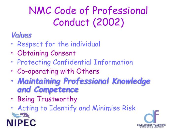 Nmc code of professional conduct 2002