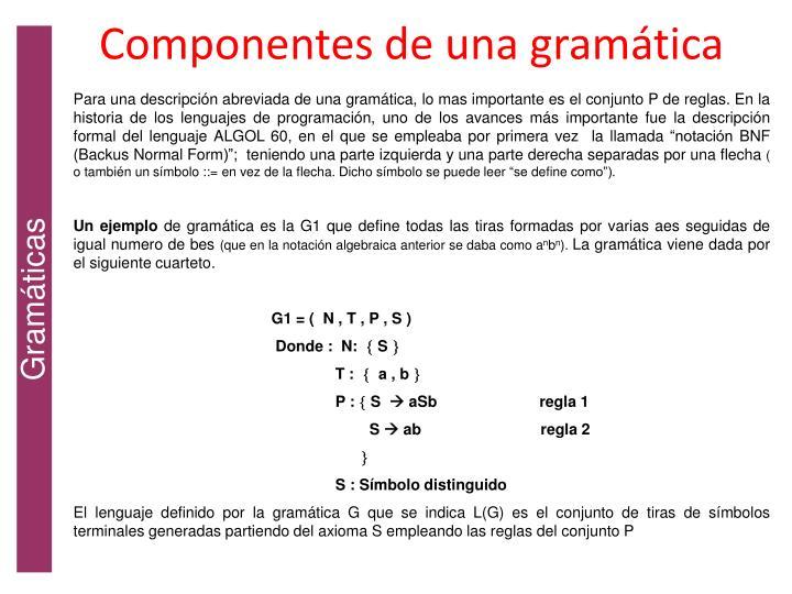 Componentes de una gramática
