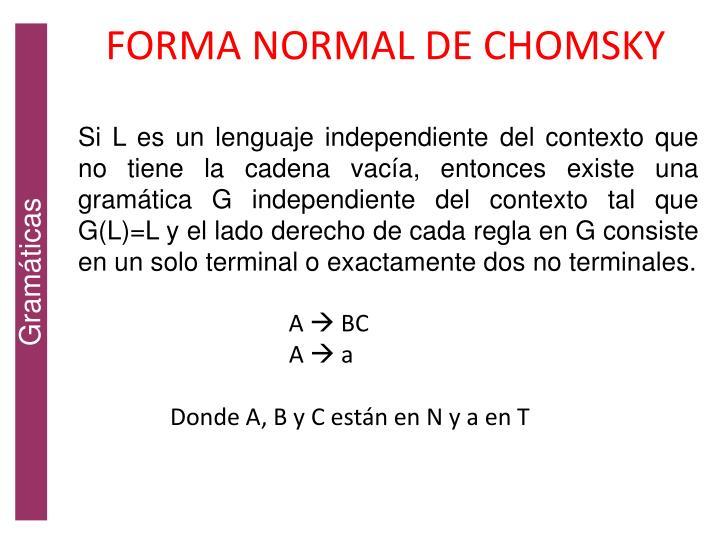 FORMA NORMAL DE CHOMSKY