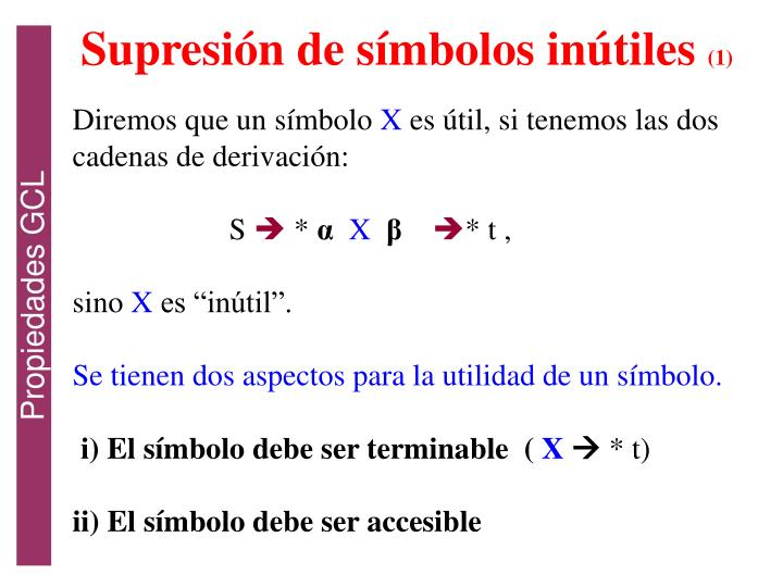 Supresión de símbolos inútiles