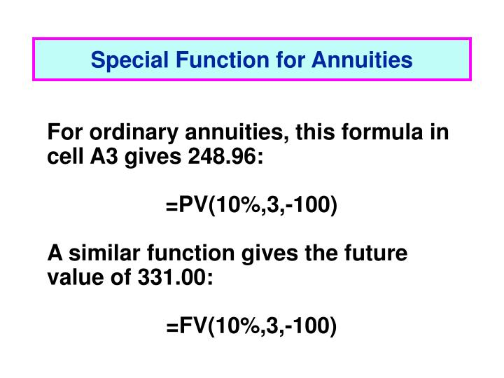 Special Function for Annuities