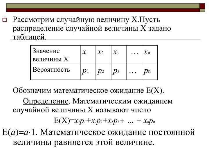 Рассмотрим случайную величину Х.Пусть распределение случайной величины Х задано таблицей.