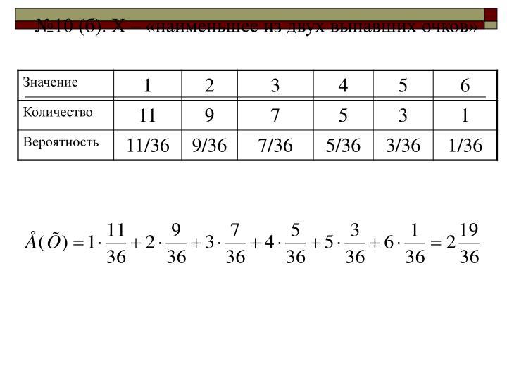 №10 (б). Х – «наименьшее из двух выпавших очков»