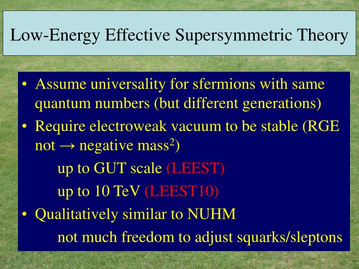 Low-Energy Effective Supersymmetric Theory