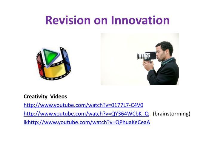 Revision on innovation