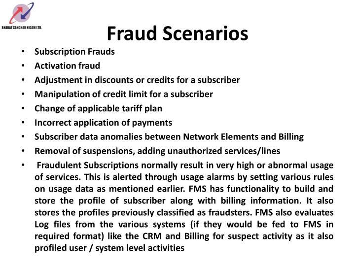 Fraud Scenarios