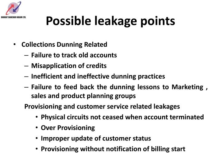 Possible leakage points